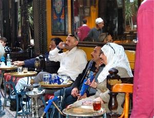 Smoking sheesha at Cairo's El Fishawy Cafe