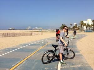 The South Bay Bike Trail looking toward Santa Monica Pier—Caroline Helbig