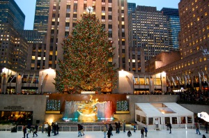 NYC's Rockefeller Center skating rink at Christmas—Caroline Helbig