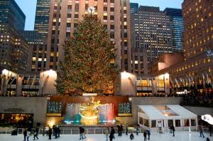 NYC's Rockefeller Center skating rink at Christmas—Caroline Helbig