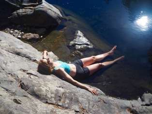 Enjoying the sun at Sooke Potholes