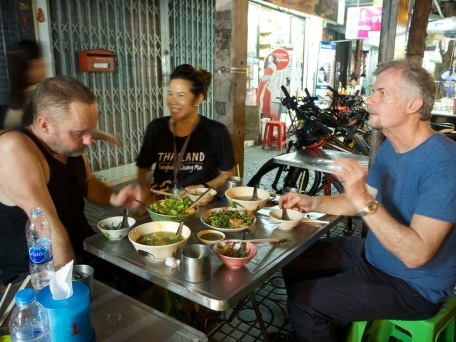 Enjoying the local cuisine on a night bike tour with Grasshopper Adventures—C.Helbig