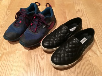 Running shoes for cycling, slip-ons for evening