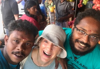 Clowning with vendors in Jaffna