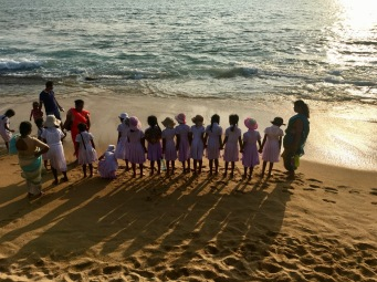School group at Galle Face Green